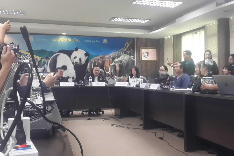 Chiang Mai zoo officials give basic details of the death of giant panda Xuang Xuang at a media briefing on Tuesday. (Photo by Panumet Tanraksa)