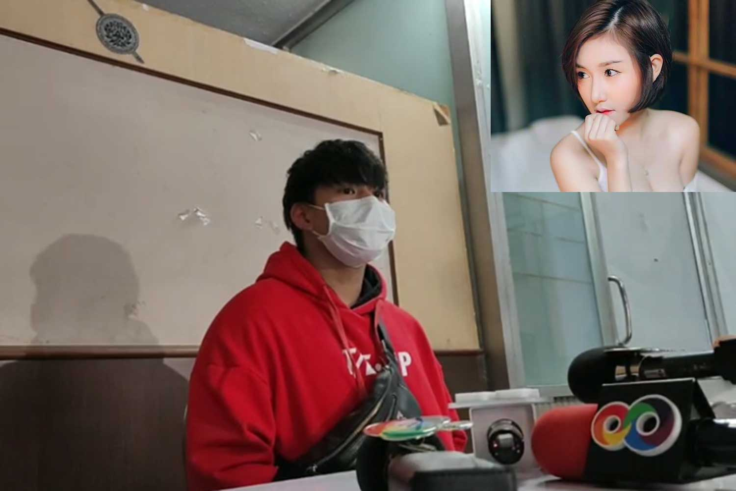 Rachadech Wongtabutr, or Nam Oun, is being questioned about the death of a product promotion girl (inset) whose body was found on a sofa at his condominium building early on Tuesday. (Photo taken from FM91bkk.com)
