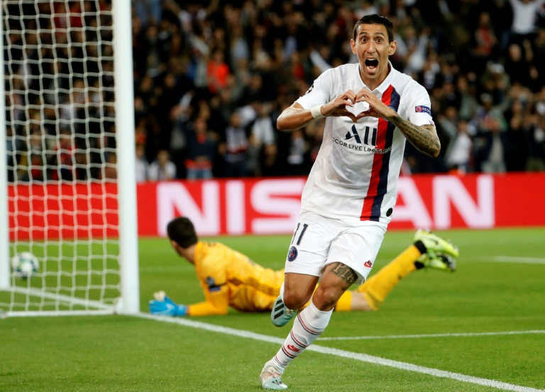 Angel Di Maria celebrates his first goal against Real Madrid at the Parc des Princes.