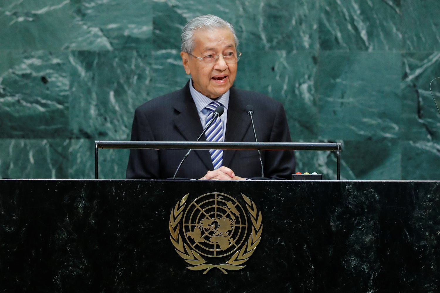 Malaysian Prime Minister Mahathir Mohamad addresses the UN General Assembly in New York on Friday. (Reuters Photo)