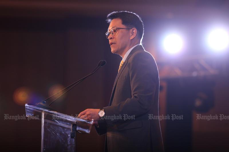 Bank of Thailand governor Veerathai Santiprabhob speaks at the National Director Conference 2019 in Bangkok in July. (Bangkok Post file photo)