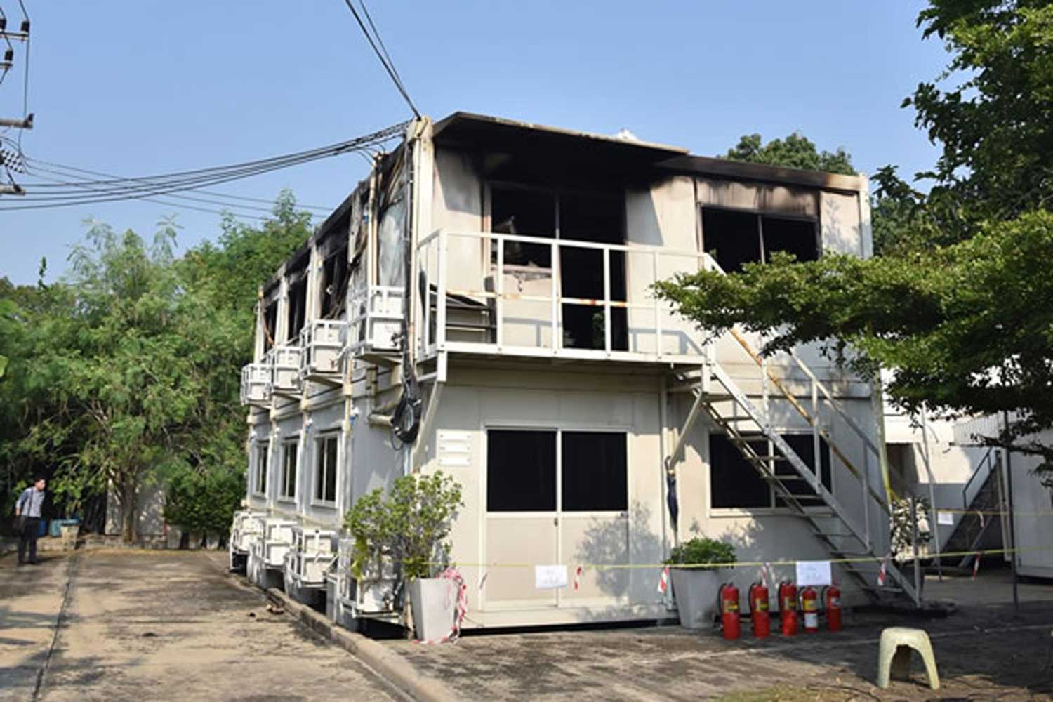 The fire blackened temporary office of the Thai Film Archive in Buddha Monthon district of Nakhon Pathom province on Monday. (Photo by from the Thai Film Archive)