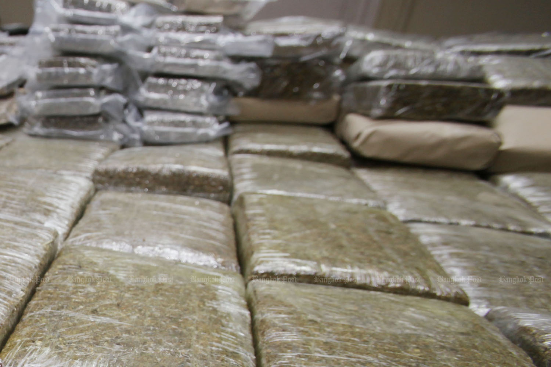 The amount of marijuana seized by Hong Kong customs has surged threefold this year. (Bangkok Post photo)