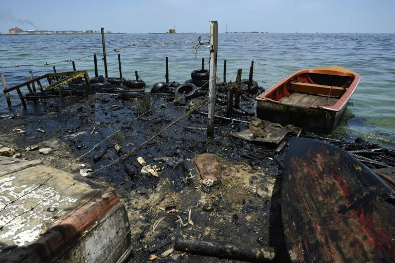 Lake Maracaibo in Venezuela is heavily polluted by dilapidated oil wells and pipelines.
