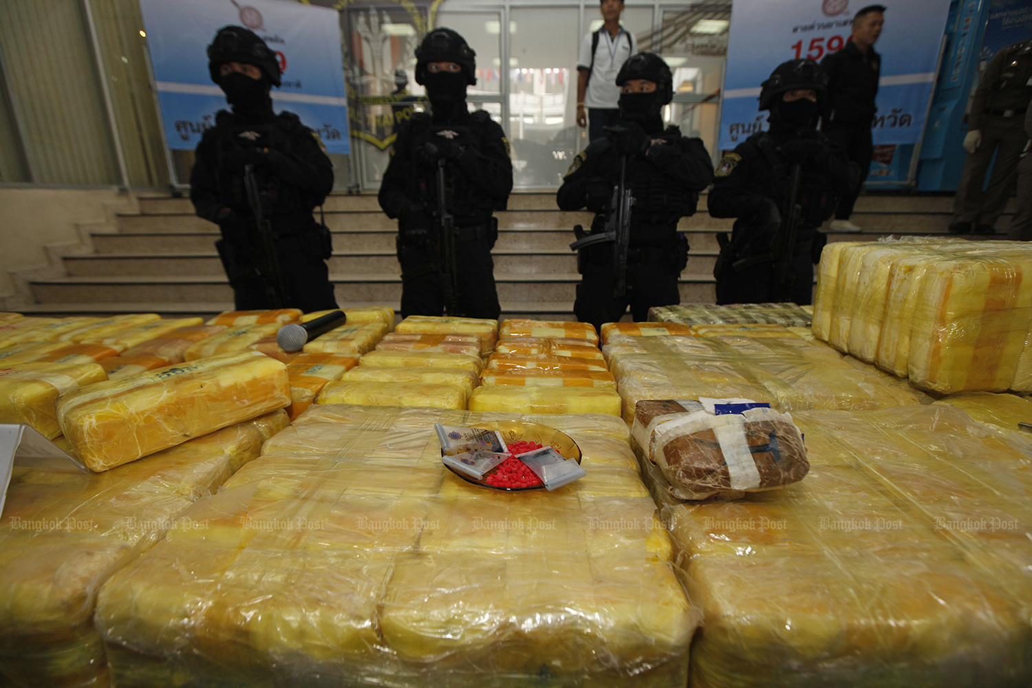 Three million methamphetamine pills, as well as 40 kilomgrammes of crystal meth, have been seized in Chiang Saen district of Chiang Rai province. (Bangkok Post file photo)
