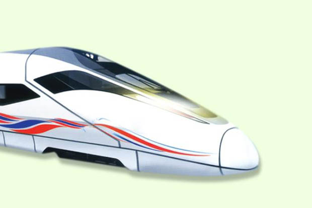 An artist's impression of the high-speed train for the track to be built by the Charoen Pokphand consortium connecting Suvarnabhumi, Don Mueang and U-tapao airports. (Photo from Charoen Pokphand Group)