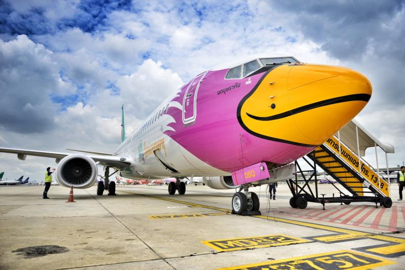 A Boeing 737-800 airplane of Nok Air parks at Don Mueang airport. (Nok Air photo)