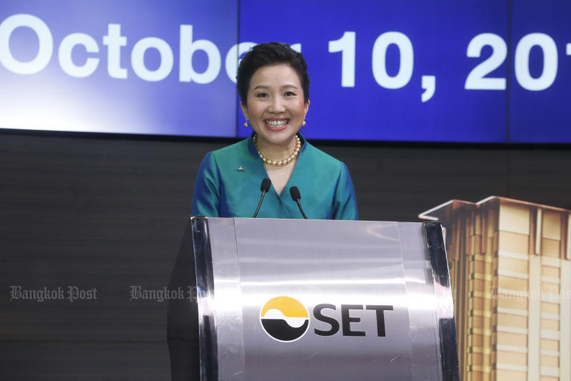 Wallapa Traisorat, chief executive and president of Asset World Corp Plc, deliver a speech before the company made its market debut in the Stock Exchange of Thailand on Thursday. (Photo by Pornprom Satrabhaya)