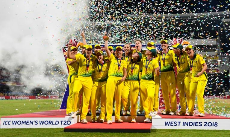 The Australian team celebrates winning the International Cricket Council Women's World T20 tournament in Antigua and Barbuda in November 2018