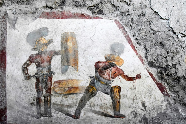 The fresco was uncovered in what experts think was a tavern frequented by gladiators