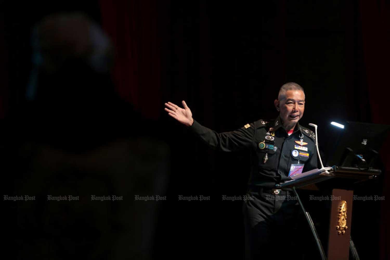 Army chief Gen Apirat Kongsompong during his speech at the Royal Thai Army headquarters in Bangkok last Friday. (Photo by Chanat Katanyu)