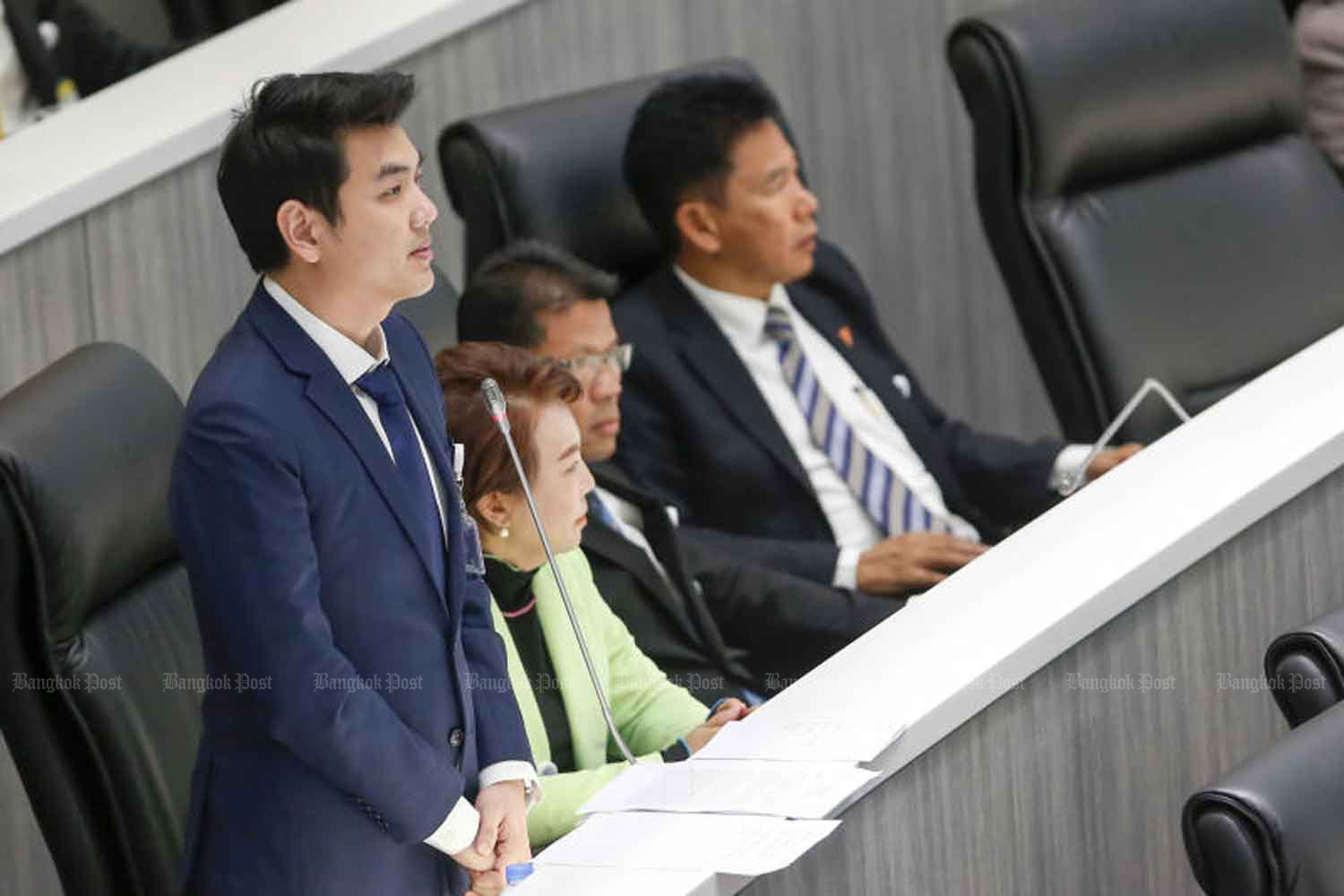 Future Forward Party secretary-general and list-MP Piyabutr Saengkanokkul voices his opposition to the use of an executive decree in relation to the