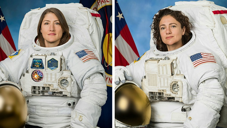 Christina Koch (left) is leading Jessica Meir, who is making her first ever spacewalk.