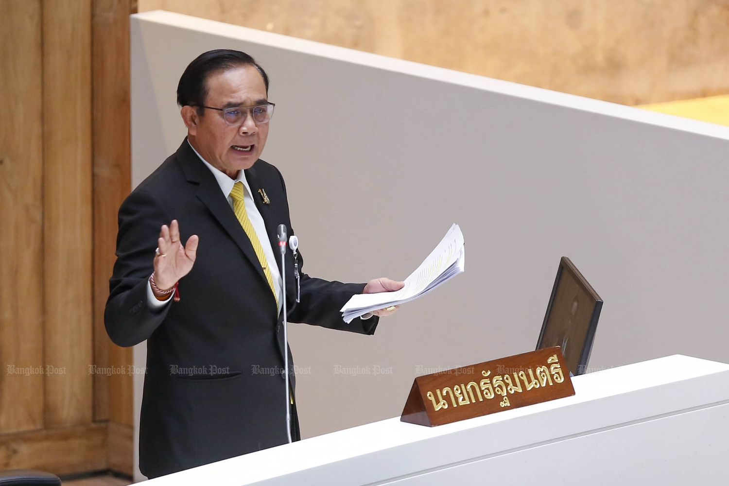 Prime Minister Prayut Chan-o-cha speaks during the debate on first reading of the fiscal 2020 budget bill at Parliament in Bangkok on Saturday. (Photo by Pattarapong Chatpattarasill)