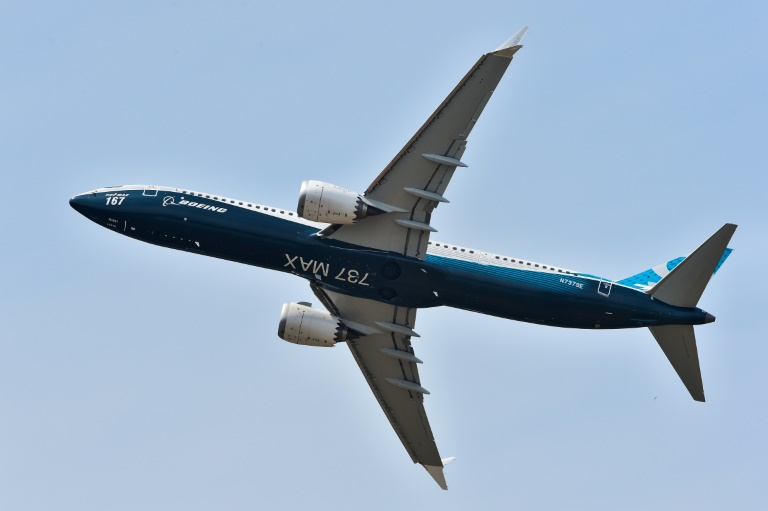 The Boeing 737 Max 9 soars overhead at the Paris air show in 2017.