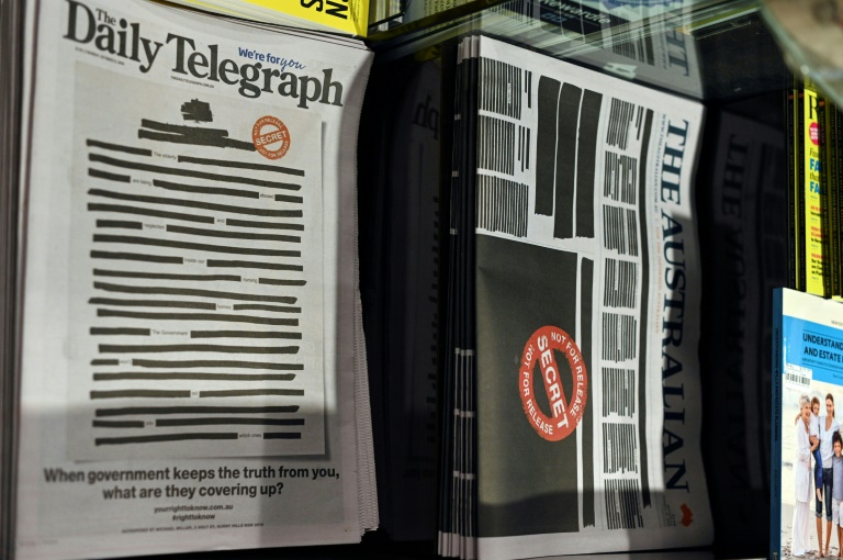Australia's leading newspapers blacked out Monday front pages in protest against government secrecy and a crackdown on press freedom.