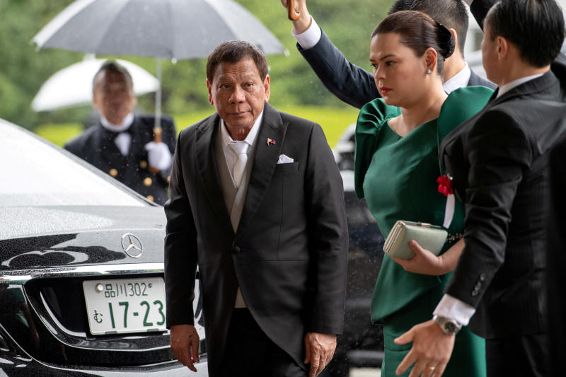 Philippines President Rodrigo Duterte arrives to attend the enthronement ceremony of Japan's Emperor Naruhito in Tokyo, Japan on Tuesday. (Reuters photo)