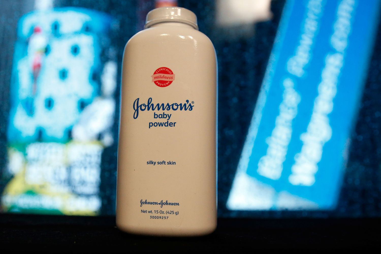 A bottle of Johnson & Johnson's Baby Powder is seen in a photo illustration taken in New York in 2016. (Reuters photo)