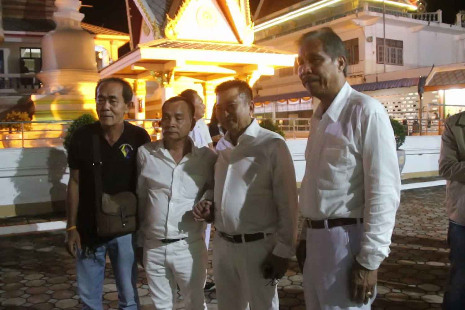 From right, Damrong Pidech, leader of the Thai Forest Conservation Party, and 