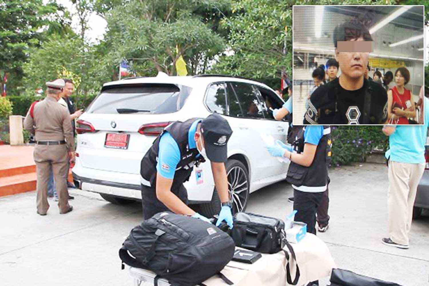 Police comb the victim's white BMW X5 for evidence at the Pattaya tourist police station  on Friday. Inset is the South Korean man suspected of attacking the vehicle's owner,  stabbing him 17 times and making off with 900,000 baht. (Photos: Chaiyot Pupattanapong)