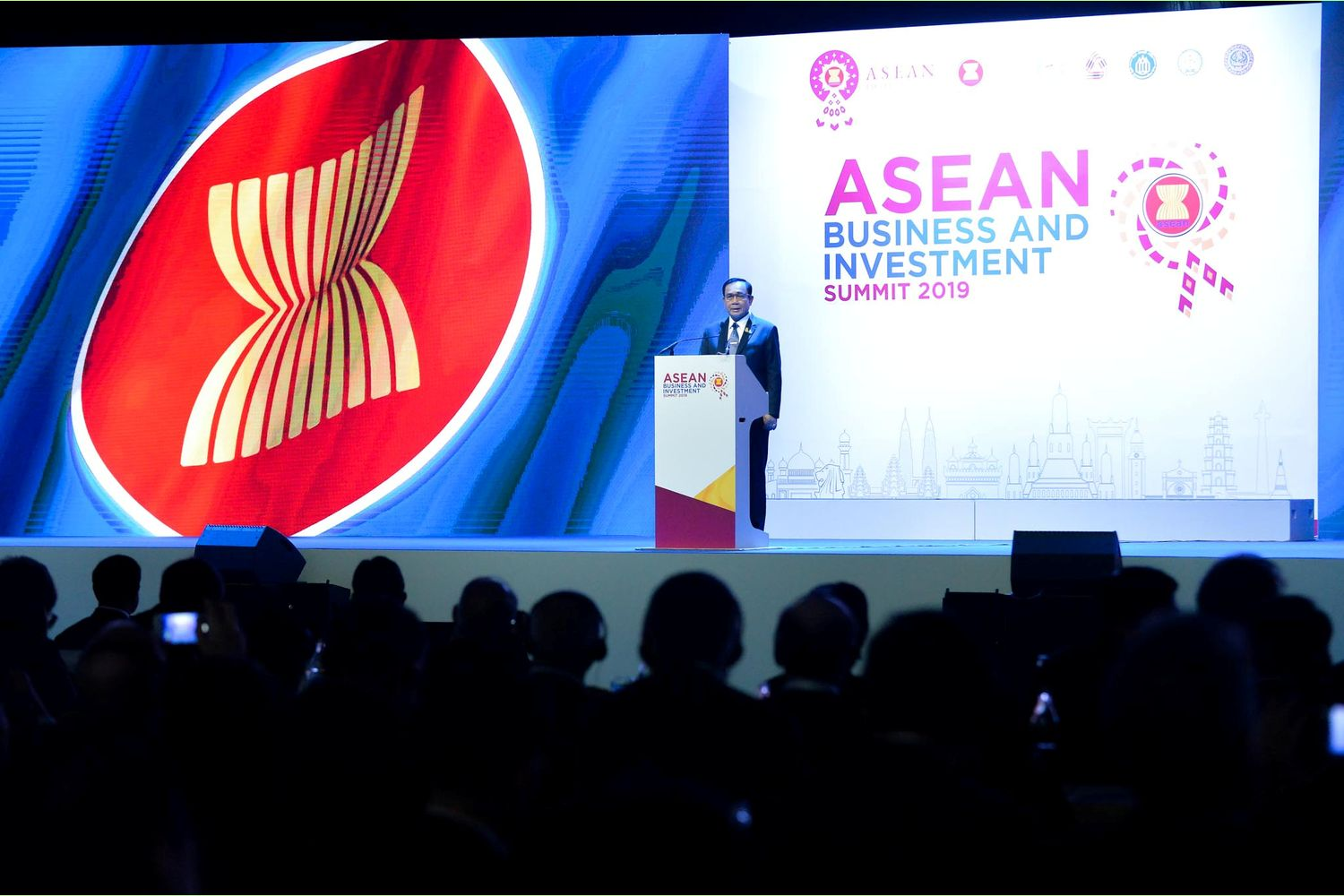 Prime Minister Prayut Chan-o-cha delivers a speech during the opening ceremony of the Asean Business and Investment Summit 2019 (ABIS 2019) in Bangkok on Saturday. (Government House photo)