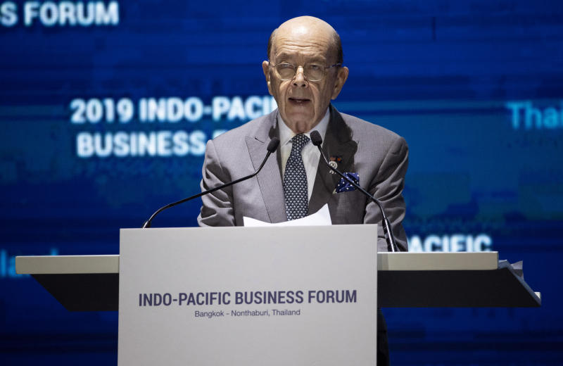 US Commerce Secretary Wilbur Ross delivers a speech at the Indo-Pacific Business Forum in Nonthaburi, Thailand, on Monday. (AP Photo)