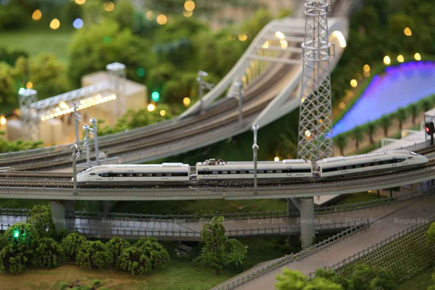 A miniature version of the Thai-Chinese high-speed railway scheme's first section from Bangkok to Nakhon Ratchasima. (Bangkok Post photo)