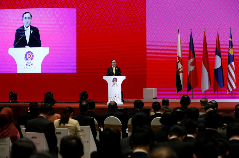 Thai Prime Minister Prayut Chan-o-cha speaks at the closing ceremony of the 35th Asean Summit and related summits in Bangkok, Nov 4, 2019. (Reuters photo)