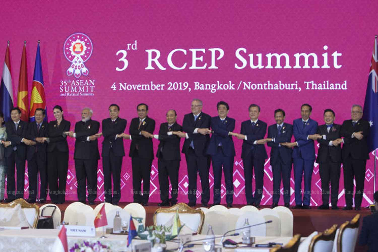 Leaders and representatives of the 10 Asean countries and six dialogue partners, namely China, Japan, South Korea, India, Australia and New Zealand, pose for a group photo at the conclusion of the 3rd Regional Comprehensive Economic Partnership (RCEP) Summit.