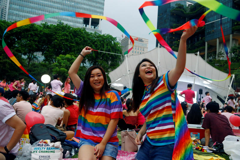 Participants of Pink Dot, an annual event organised in support of the LGBT community, pose for a photo at the Speakers' Corner in Hong Lim Park in Singapore, June 29, 2019. (Reuters file photo)