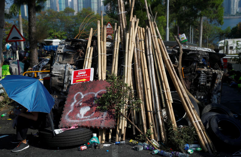 A barricade set by protesters at the entrance to a campus is pictured at the Chinese University in Hong Kong, China, on Wednesday. (Reuters photo)
