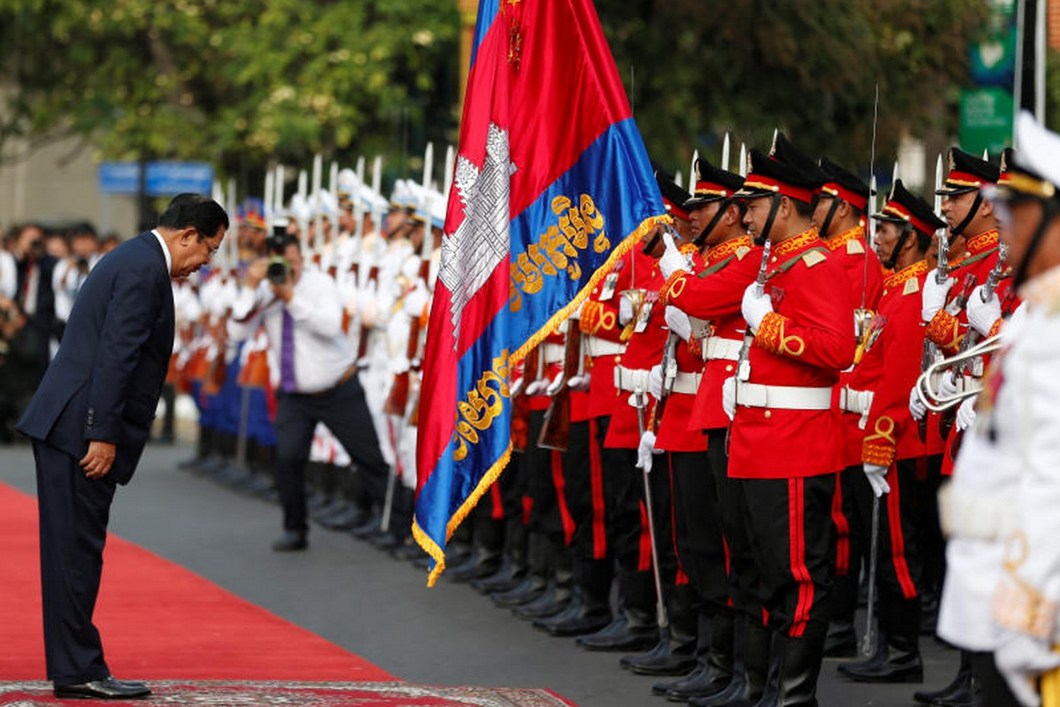 Prime Minister Hun Sen attends celebrations marking the 66th anniversary of Cambodia's independence from France, in central Phnom Penh on Nov 9. (Photo: Reuters)