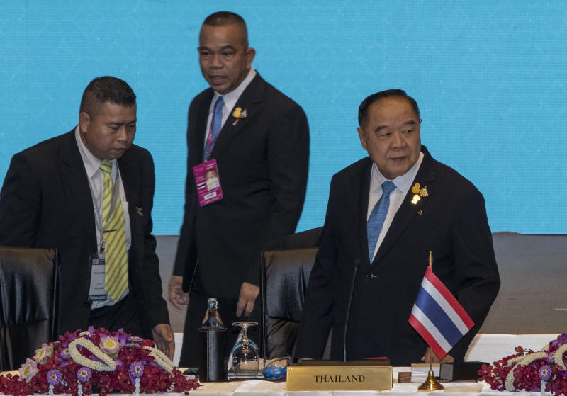 Deputy Prime Minister Prawit Wongsuwon arrives to chair the Asean Defence Ministers Meeting-Plus on Monday. (AP photo)