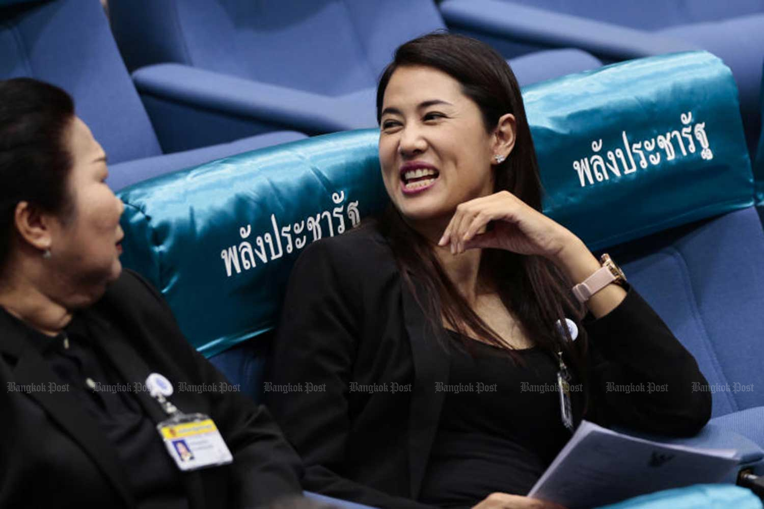 Pareena Kraikupt, a Palang Pracharath MP for Ratchaburi province, during a parliament meeting on June 5. (File photo)