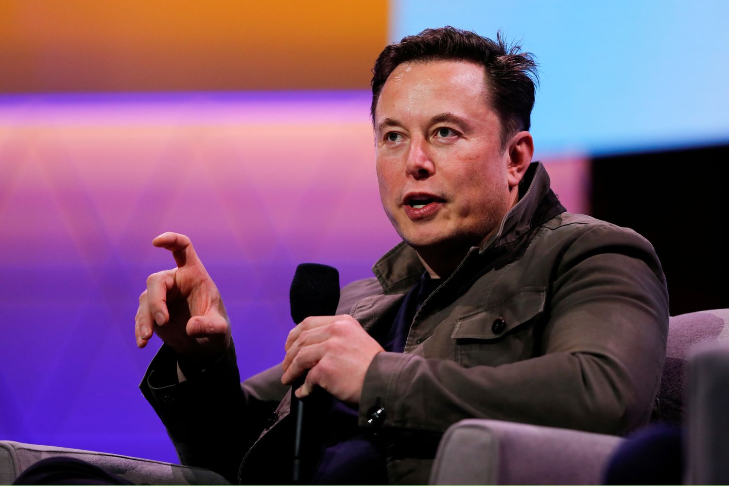 Tesla CEO Elon Musk gestures during a conversation at the E3 gaming convention in Los Angeles on June 13. (Reuters photo)