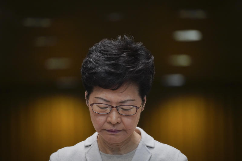 Carrie Lam reacts during a press conference in Hong Kong on Tuesday. The Hong Kong chief executive will be in Bangkok on Thursday to foster economic ties with Thailand. (AP photo)