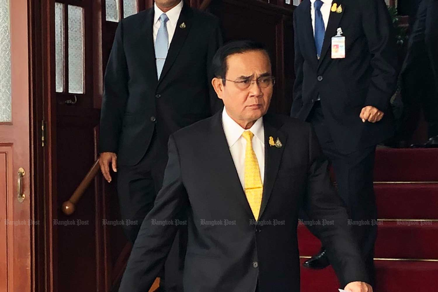 Prime Minister Prayut Chan-o-cha at the Defence Ministry on Thursday. (Photo by Wassana Nanuam)