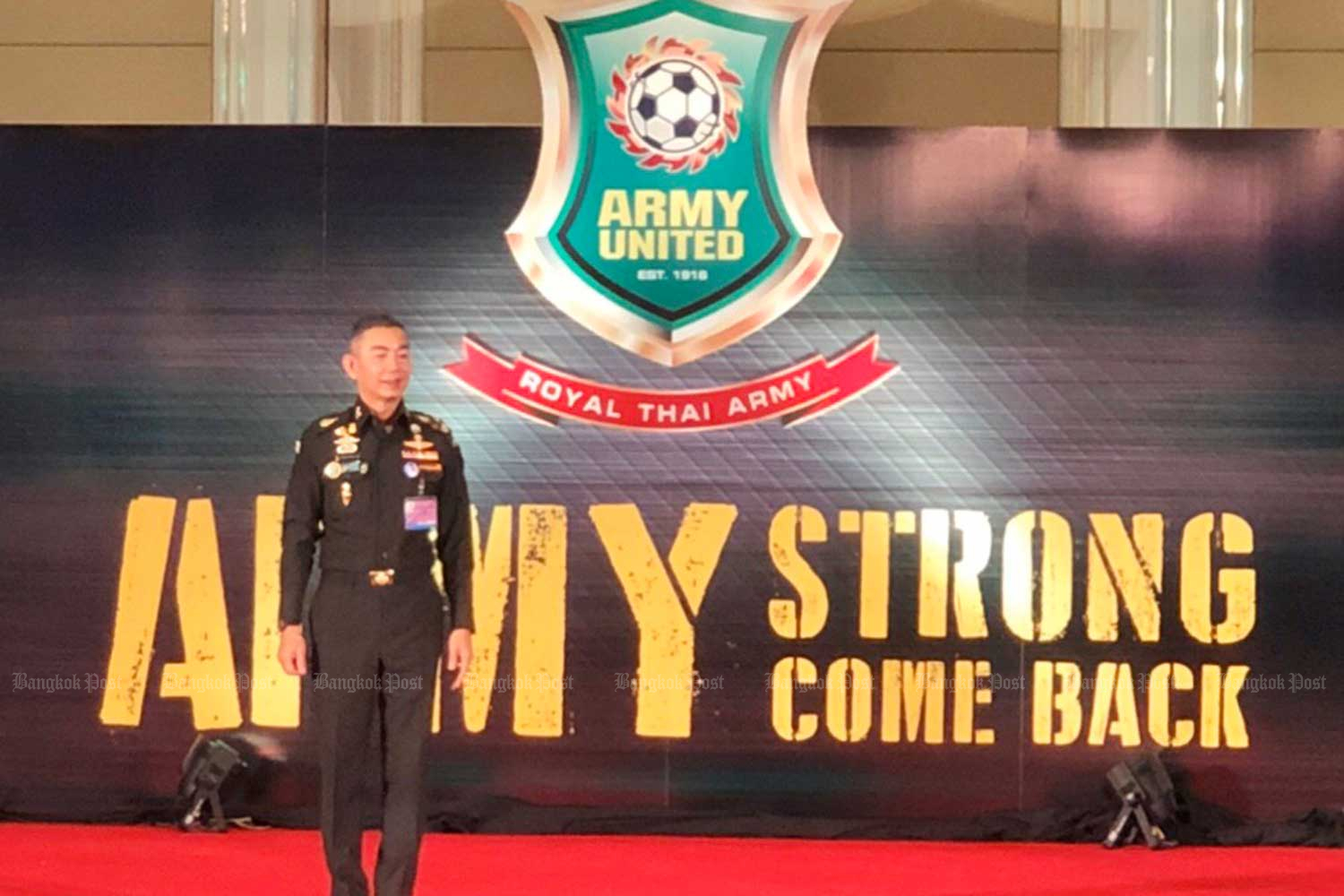 Army chief Gen Apirat Kongsompong hads suspended the Army United football team because of its continued poor performance, and the 103-year-old club is expected to be shutdown. (Photo by Wassana Nanuam)