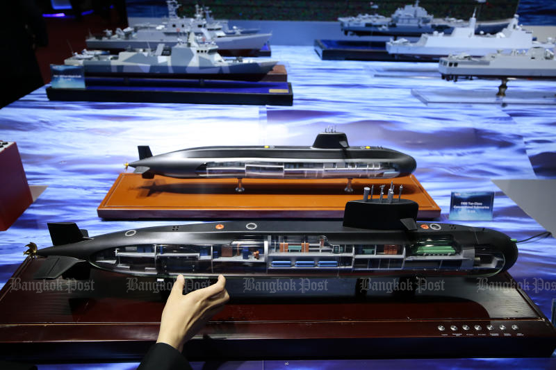 Models of Chinese submarines are seen at a defence exhibition held in Nonthaburi on Nov 18, 2019. (Photo by Patipat Janthong)