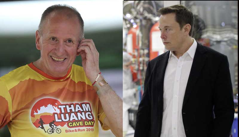 Left: British cave expert Vernon Unsworth participates in a marathon and biking event in Mae Sai, Chiang Rai province, June 23, 2019. Right: Elon Musk is seen at SpaceX headquarters, in Hawthorne, California, US, Oct 10, 2019. (AP photos).