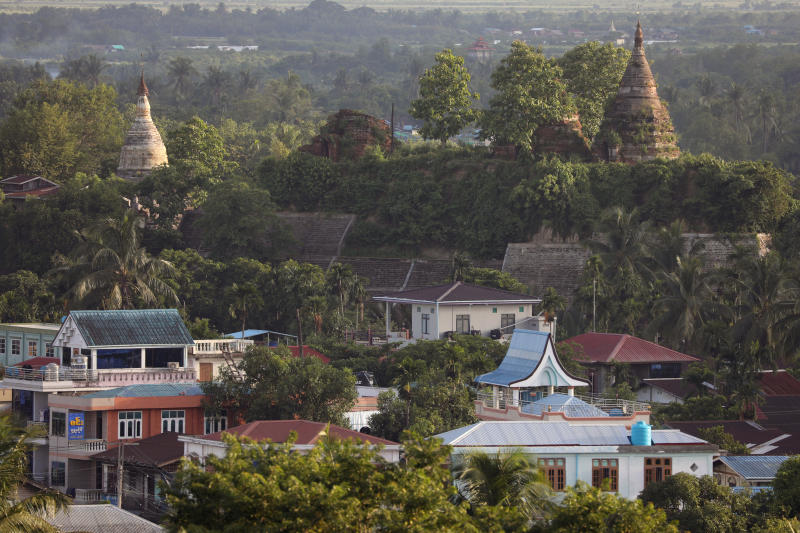 A landscape view of the downtown with ancient pagodas in the background in Mrauk U, Rakhine state, Myanmar June 28, 2019. (Reuters file photo)