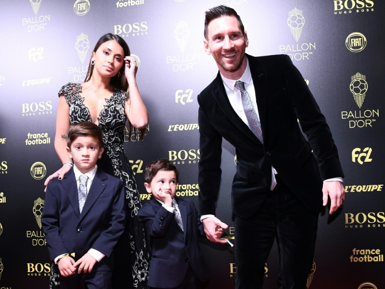 Lionel Messi in Paris with his family before collecting his sixth Ballon d'Or award on Monday.