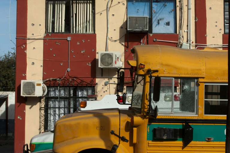 A school bus in Villa Union, in Mexico's Coahuila state, scene of a deadly weekend assault by cartel gunmen.