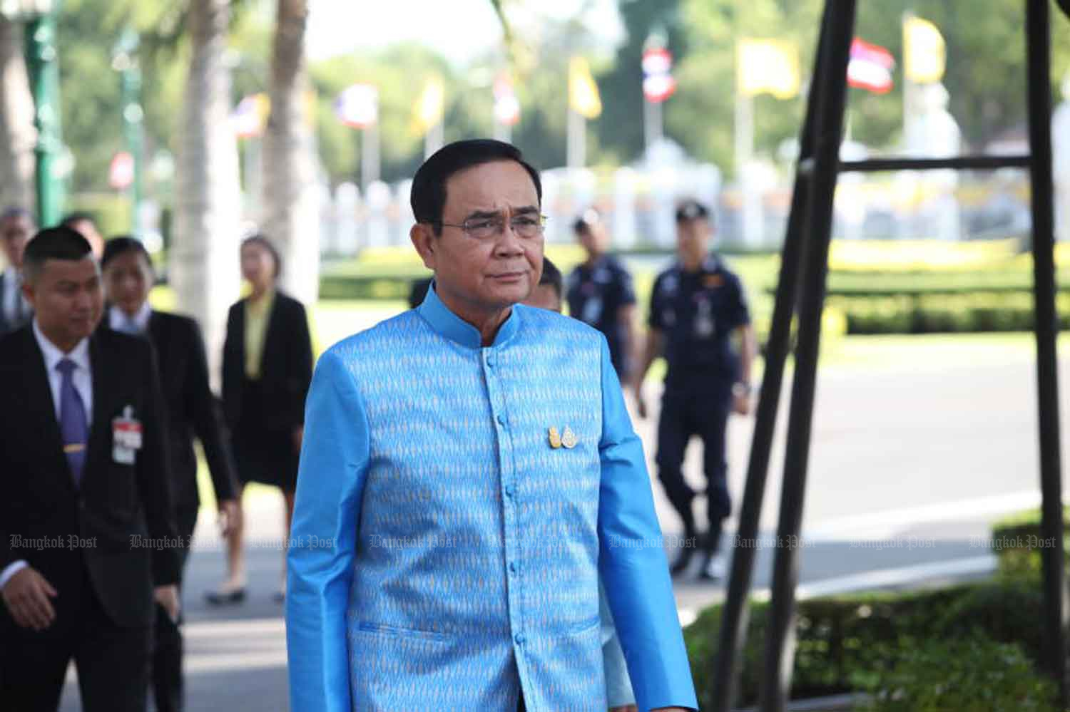 Prime Minister Prayut Chan-o-cha at Government House on Tuesday. (Photo by Apichart Jinakul)