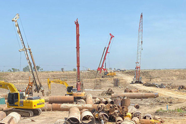 Construction workers are now laying the foundation of the new airport serving Phnom Penh. (State Secretariat of Civil Aviation via Khmer Times photo)