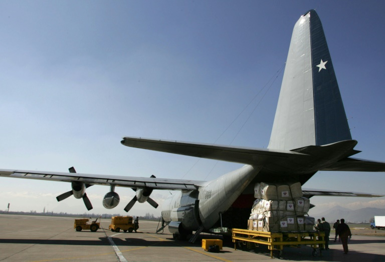 A Chilean Hercules C-130 military transport plane, the same model that has disappeared with 38 people on board.