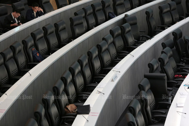 Empty seats are seen in Parliament on Dec 4. (Bangkok Post photo)