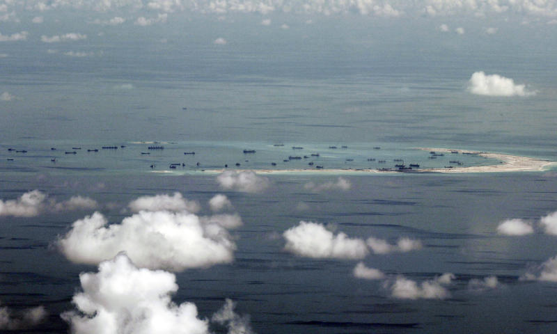 This May 11, 2015, file photo, shows land reclamation of Mischief Reef in the Spratly Islands in the South China Sea. (AP file photo)