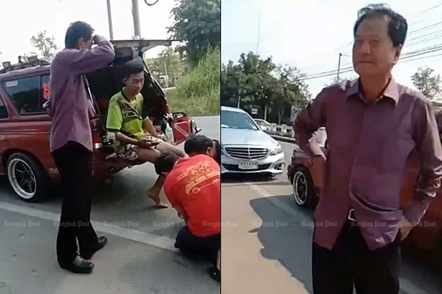 Former cabinet minister Thawee Kraikupt looks on as rescuers tend to a young motorcyclist whose bike was struck by his Mercedes on Saturday in Photharam district of Ratchaburi. (Photo supplied by Saichon Srinuanchan)