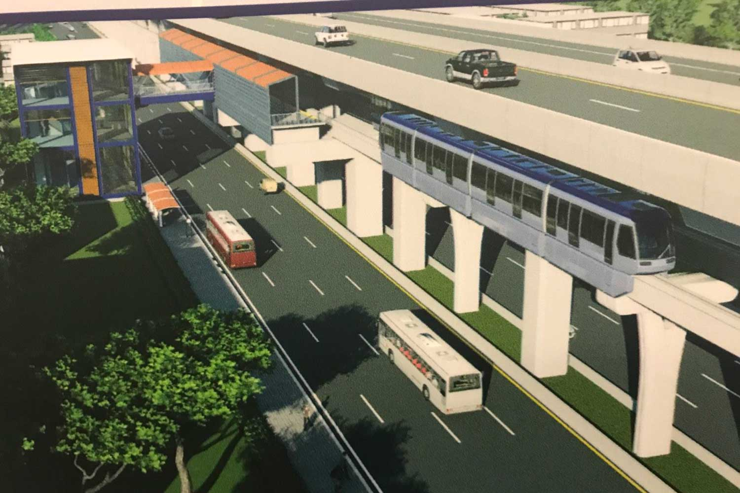An artist's impression of the planned elevated N2 expressway and the Brown Line monorail. (Photo supplied)